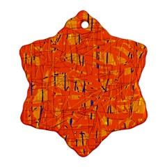 Orange Pattern Ornament (snowflake)  by Valentinaart