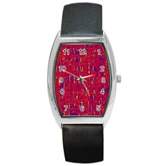Red And Blue Pattern Barrel Style Metal Watch by Valentinaart