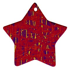 Red And Blue Pattern Star Ornament (two Sides)  by Valentinaart