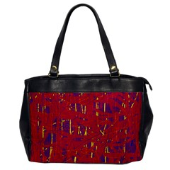 Red And Blue Pattern Office Handbags