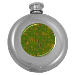 Green Pattern Round Hip Flask (5 Oz) by Valentinaart