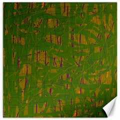 Green Pattern Canvas 12  X 12   by Valentinaart