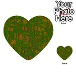 Green pattern Multi-purpose Cards (Heart)  Front 1
