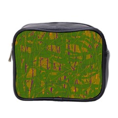 Green Pattern Mini Toiletries Bag 2 Side by Valentinaart