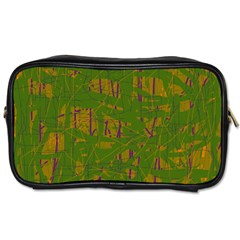 Green Pattern Toiletries Bags 2 Side by Valentinaart