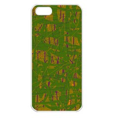 Green Pattern Apple Iphone 5 Seamless Case (white) by Valentinaart
