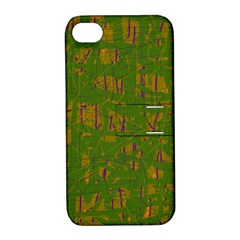 Green Pattern Apple Iphone 4/4s Hardshell Case With Stand by Valentinaart
