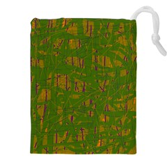 Green Pattern Drawstring Pouches (xxl) by Valentinaart