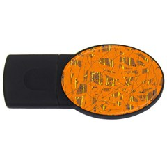 Orange Pattern Usb Flash Drive Oval (4 Gb)