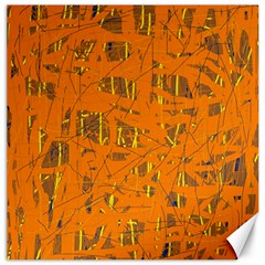 Orange Pattern Canvas 12  X 12   by Valentinaart
