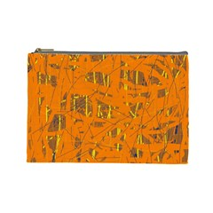 Orange Pattern Cosmetic Bag (large)  by Valentinaart