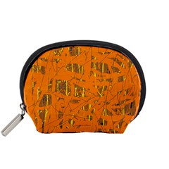 Orange Pattern Accessory Pouches (small)  by Valentinaart