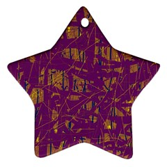 Purple Pattern Star Ornament (two Sides)  by Valentinaart