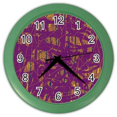 Purple Pattern Color Wall Clocks by Valentinaart