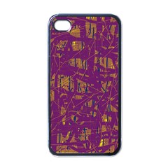 Purple Pattern Apple Iphone 4 Case (black) by Valentinaart