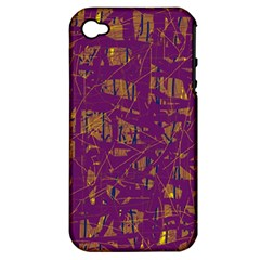 Purple Pattern Apple Iphone 4/4s Hardshell Case (pc+silicone) by Valentinaart