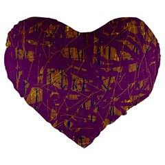 Purple Pattern Large 19  Premium Heart Shape Cushions by Valentinaart