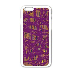 Purple Pattern Apple Iphone 6/6s White Enamel Case by Valentinaart