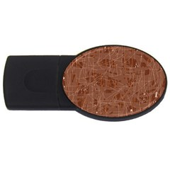 Brown Pattern Usb Flash Drive Oval (4 Gb)  by Valentinaart