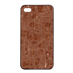 Brown Pattern Apple Iphone 4/4s Seamless Case (black) by Valentinaart
