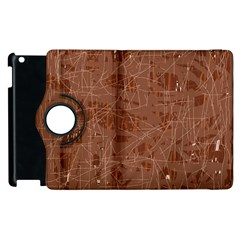 Brown Pattern Apple Ipad 2 Flip 360 Case by Valentinaart