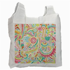Hippie Flowers Pattern, Pink Blue Green, Zz0101 Recycle Bag (two Side)  by Zandiepants