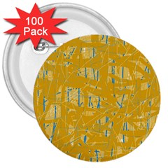 Yellow Pattern 3  Buttons (100 Pack)  by Valentinaart