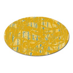 Yellow Pattern Oval Magnet by Valentinaart
