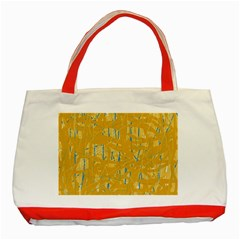 Yellow Pattern Classic Tote Bag (red) by Valentinaart