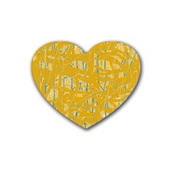Yellow Pattern Rubber Coaster (heart)  by Valentinaart