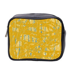 Yellow Pattern Mini Toiletries Bag 2 Side by Valentinaart