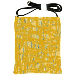Yellow Pattern Shoulder Sling Bags by Valentinaart