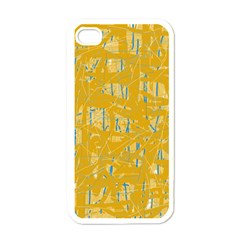 Yellow Pattern Apple Iphone 4 Case (white) by Valentinaart