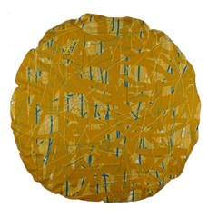 Yellow Pattern Large 18  Premium Flano Round Cushions by Valentinaart