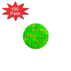Neon Green Pattern 1  Mini Magnets (100 Pack)  by Valentinaart