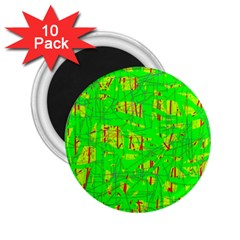 Neon Green Pattern 2 25  Magnets (10 Pack)  by Valentinaart