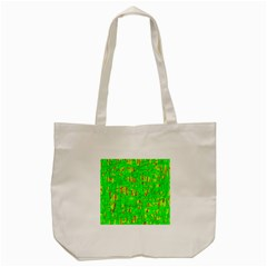Neon Green Pattern Tote Bag (cream) by Valentinaart
