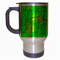 Neon Green Pattern Travel Mug (silver Gray) by Valentinaart