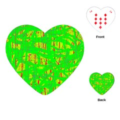 Neon Green Pattern Playing Cards (heart)  by Valentinaart