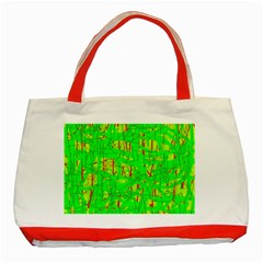 Neon Green Pattern Classic Tote Bag (red) by Valentinaart