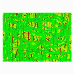 Neon Green Pattern Large Glasses Cloth (2 Side) by Valentinaart