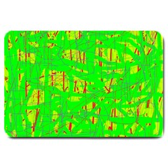 Neon Green Pattern Large Doormat  by Valentinaart