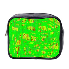 Neon Green Pattern Mini Toiletries Bag 2 Side by Valentinaart
