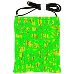 Neon Green Pattern Shoulder Sling Bags by Valentinaart