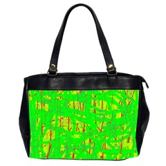 Neon Green Pattern Office Handbags (2 Sides)  by Valentinaart