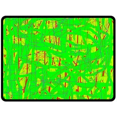 Neon Green Pattern Fleece Blanket (large)  by Valentinaart