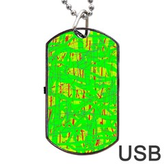 Neon Green Pattern Dog Tag Usb Flash (one Side) by Valentinaart