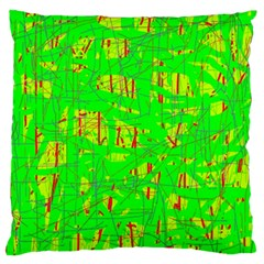 Neon Green Pattern Large Cushion Case (two Sides) by Valentinaart