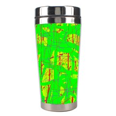 Neon Green Pattern Stainless Steel Travel Tumblers by Valentinaart