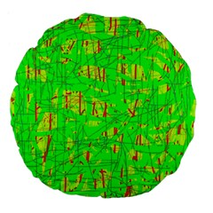 Neon Green Pattern Large 18  Premium Flano Round Cushions by Valentinaart